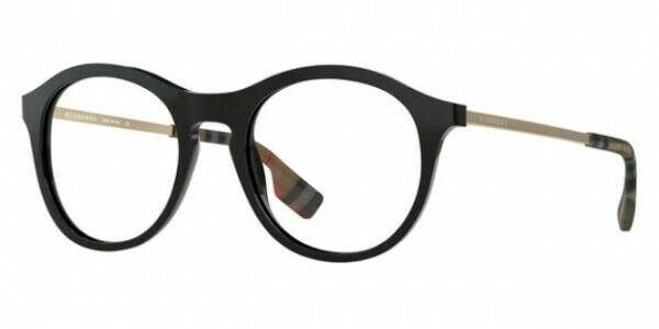 Burberry BE2287 3001 48MM Round Eyeglasses, 48-19-140 Black Optical Frame