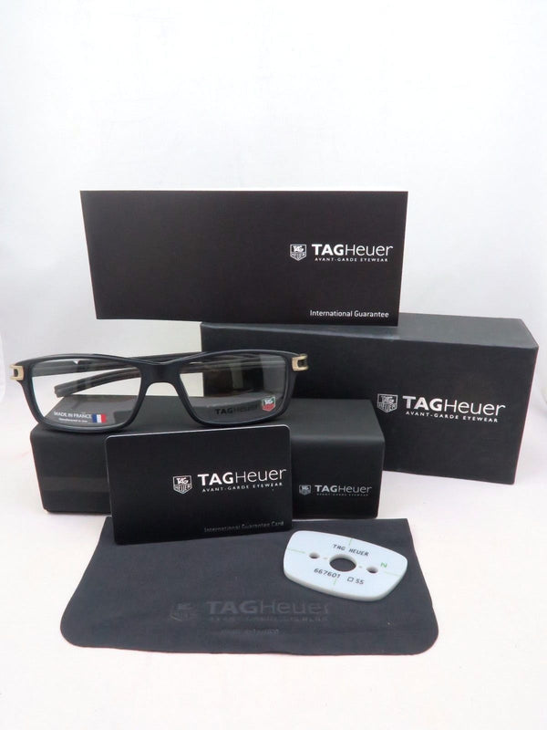 New Tag Heuer w/TAGS 7601 Track S Black Gold TH7601 008 55mm Optical Eyeglasses