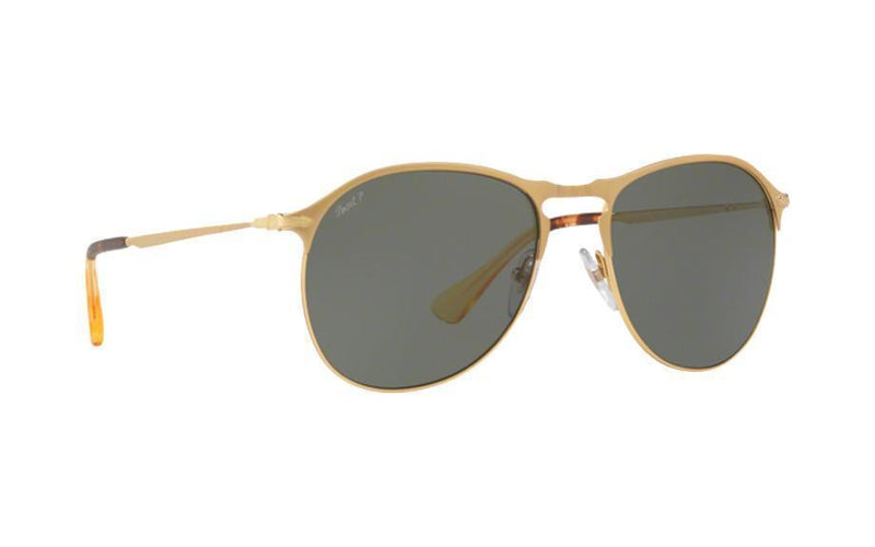 Persol Sunglasses PO7649S 106958 53MM Polarized Matte Gold Green / Gray 53mm