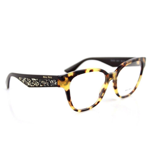 New MIU MIU MU06OV 7S01O1 Light Havana Brown Stardust EyeGlasses Frame Fast Ship