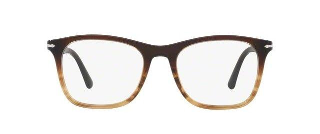 Persol Eyeglass PO3188V 1026 Square Style | Striped Brown Plastic Frame