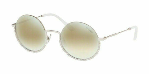Miu Miu MU69US 1BC168 52 Silver/Light Brown Mirrored Sunglasses