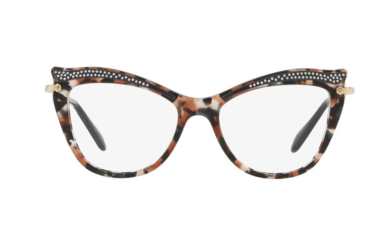 Miu Miu Eyeglass MU06PV 79A1O1 51mm Cat Eye Style - Women Eyeglass Havana Grey & Brown Frame