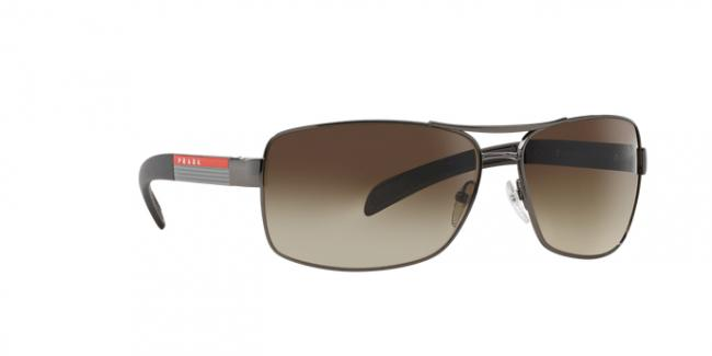 PRADA SPORT Sunglasses PS54IS 5AV6S1 Gunmetal 65MM Brown/Silver Brown Lens