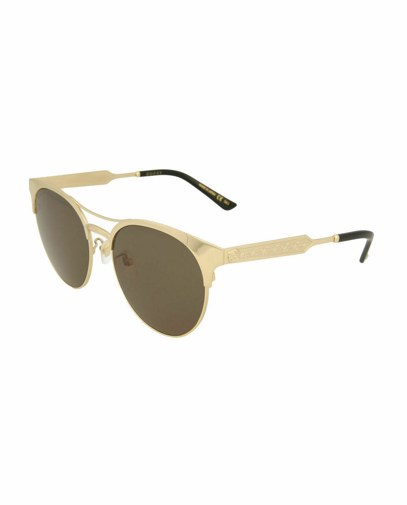 Gucci sunglass round oval style GG0075SK-30001045-003 52mm - Women sunglass green lens color