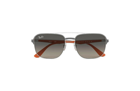Ray Ban RB3570-911111-58 Aviator Sunglasses Gunmetal Orange Frame Grey Gradient