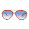 Tom Ford Andy TF468 56W 58mm Gold Havana Brown Blue Gradient Aviator Sunglasses
