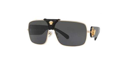 Versace Squared Baroque Sunglasses VE2207QA 100287 38 Gold-Black  / Grey Lens