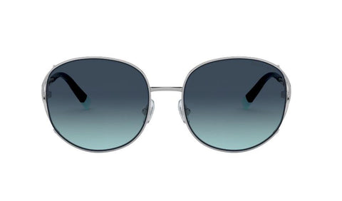 Tiffany & Co. TF3065 60479S 56 Sunglasses Silver/Azure Grad Blue 56mm