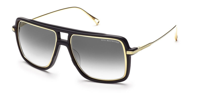 New Authentic DITA WESTBOUND Aviator Matte Black Gold Grey Sunglasses 19015-A