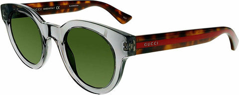 New GUCCI Authentic Gray Havana Red GG0002S 006 Round 46-25-145 Sunglasses