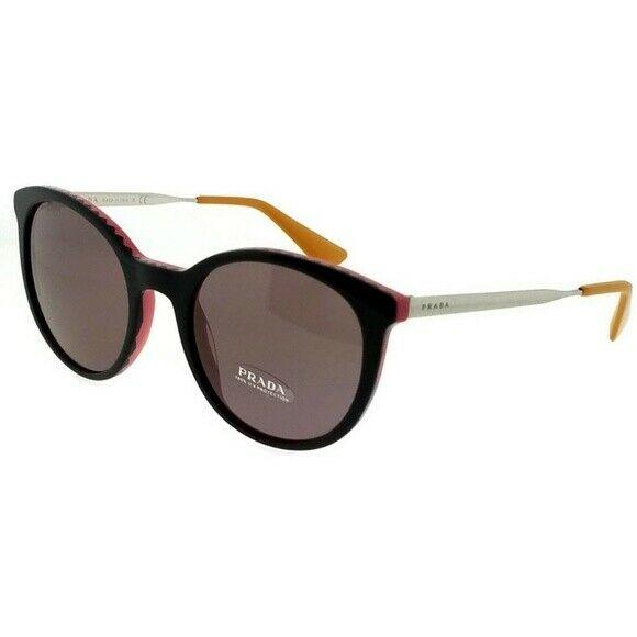 Prada Sunglass Cinema Round Style PR17SSF VH66X1 55 | Black/Pink Color Purple Orange Lens