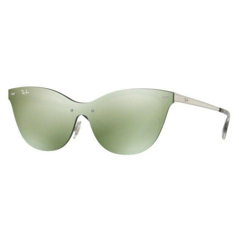 Ray Ban RB3580N 042/30 Silver/Silver Green Mirror Lenses Cat-Eye Sunglasses 43mm
