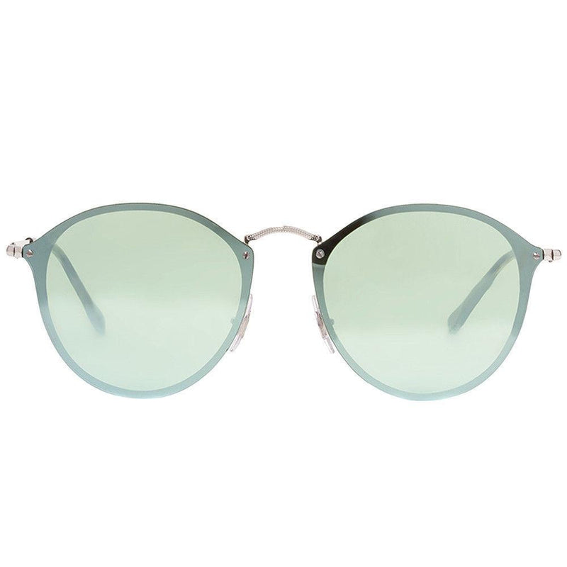 Ray-Ban Blaze Round RB 3574N 003/30 Silver Sunglasses Green Silver Mirror 59mm