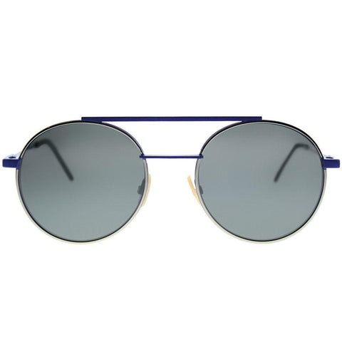Fendi Sunglass - Round Style FF0221 PJP T4 52 Silver Mirror Lens - Unisex Sunglass Blue Metal Frame
