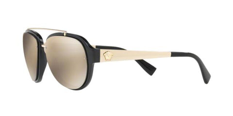 Versace VE4327 GB1/5A 57 Shiny Black Gold / Light Brown & Gold Mirror Sunglasses