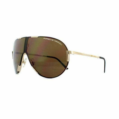 Porsche Design Folding Aviator Sunglasses - P8486 A - Gold Titanium / Brown