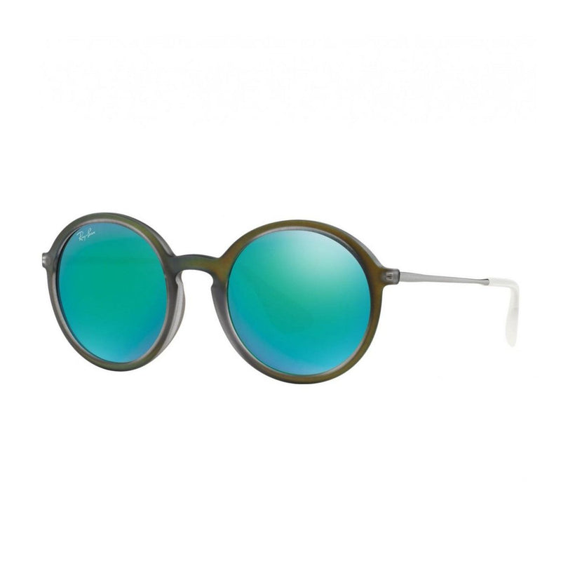 Ray-Ban RB4222-61693R Green Rubber Round Light Green Mirror Lens Sunglasses 8053672359152