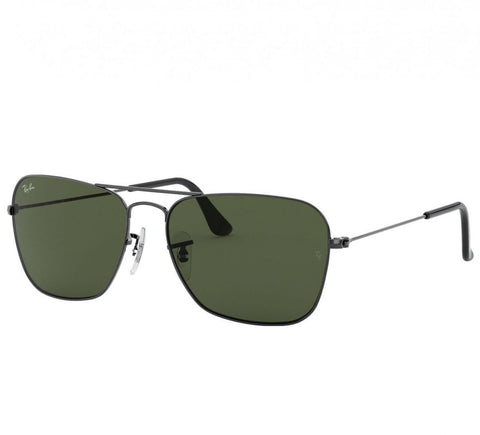 Ray-Ban RB3136-004 Caravan Gunmetal Square Green Classic G-15 Lens Metal Sunglasses
