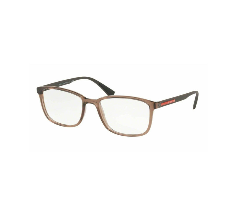 Prada Eyeglass - PS04IV WAH1O1 Rectangular Style Linea Rossa Model Transparent Brown Color Eyeglass