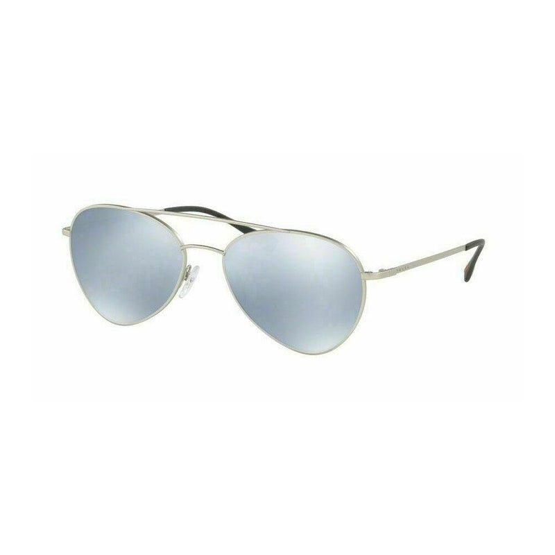 Prada Sunglass Linea Rossa Pilot Syle PS50SS-1AP5Q0 | Matte Silver Color Blue/White Mirrored Lens