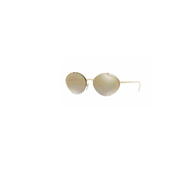 Prada Sunglass Oval Style PR60US 5AK2G2 63 | Gold Color Brown Gold Mirrored Gradient Lens