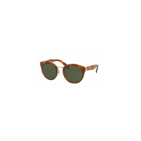 Prada PR05TS TH71I0 53 Round Women's Havana Frame Green Lens Genuine Sunglasses