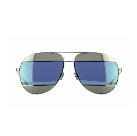 Christian DIOR SPLIT 1 0103J Palladium / Silver Blue Mirror 010/3J Sunglasses