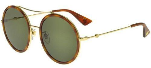 New Gucci Sunglass - GG0061S 002 Havana / Gold Color Metal Round Style Green Lens