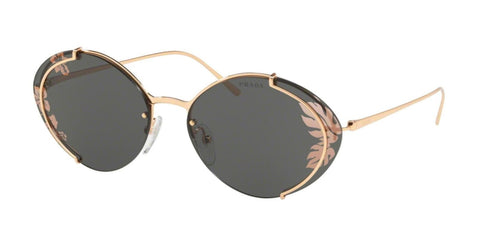 PRADA COLLECTION Oval Metal Sunglasses 60U Rose Gold Hibiscus Flower Authentic