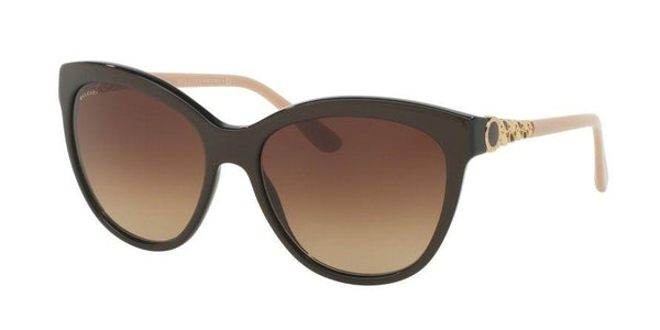 BVLGARI BV8158 8158 57 CATENE Cat Eye Brown Creme Gold Chain Sunglasses Gradient