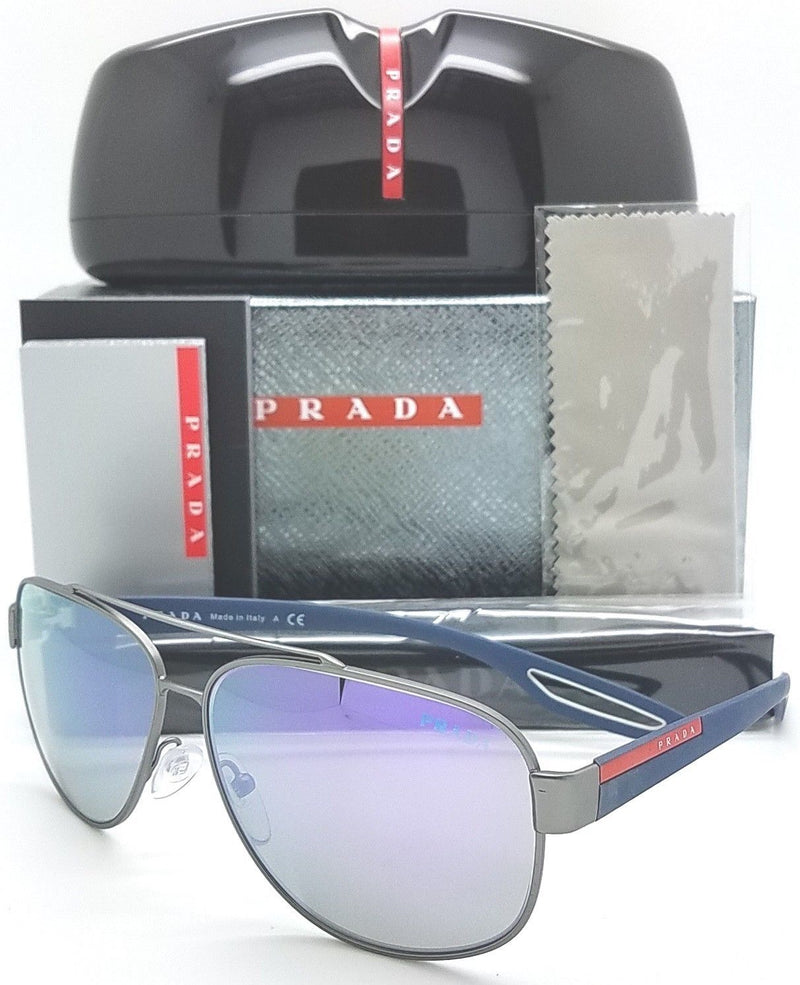 Prada Linea Rossa Sunglasses PS58QS DG12E2 Ruthenium Rubber Grey Blue Mirror 60