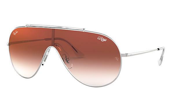 Ray-Ban Wings Sunglasses RB3597 003/V0 Silver / Red Gradient Mirror Lens 33MM