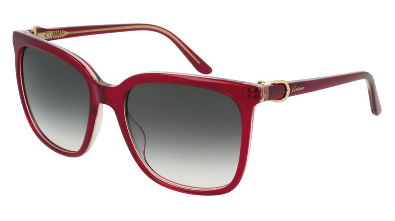 Cartier Sunglass CT0004S 004 55MM Signatuer C DE Square Style | Red Color