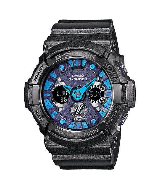 Casio GA200SH-2A Men's XL Glossy Black Analog Digital Alarm Chrono G Shock Watch
