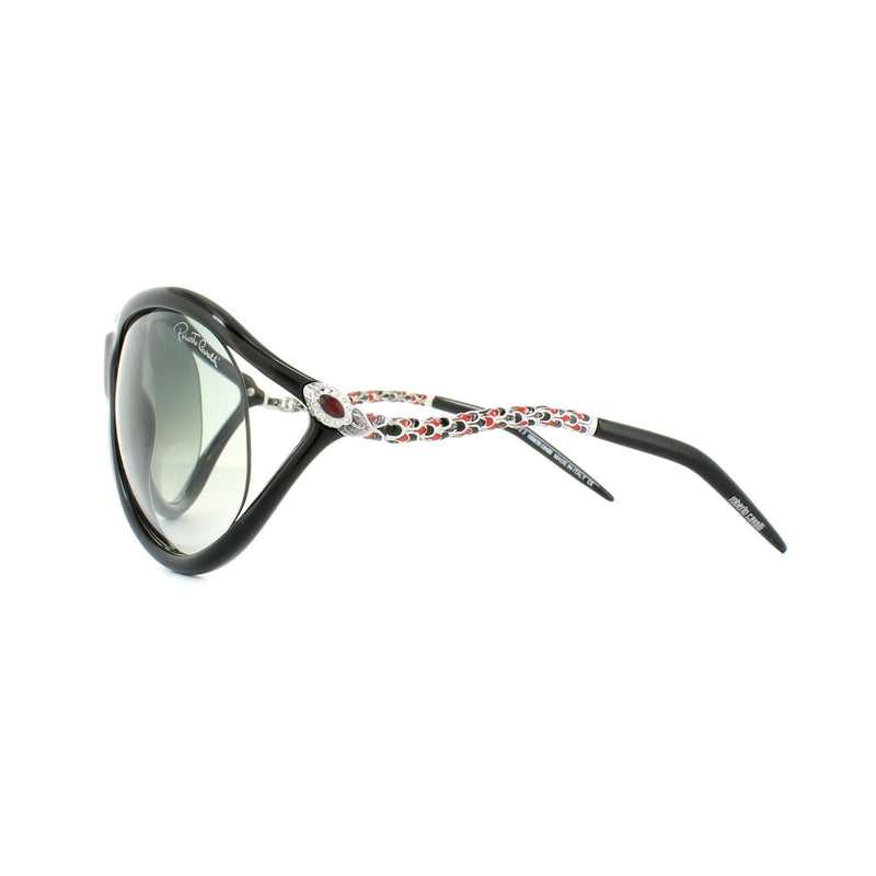 Roberto Cavalli Sunglass - Oval Style Caph 853S Model Shiny Black Color Sunglass RC853S 01B 67MM