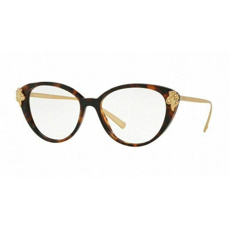 Versace Eyeglass Cat Eye Style Demo Lens - Women Eyeglass Havana Frame VE3262B 5267 52