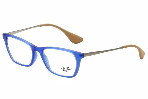 Ray Ban RX Eyeglasses New Authentic Blue Rubber/Clear RX7053 5524 52 17 140