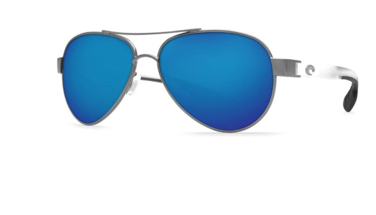 New Costa Del Mar Loreto Gunmetal Blue Polarized Sunglasses LR 74 OBMP $229