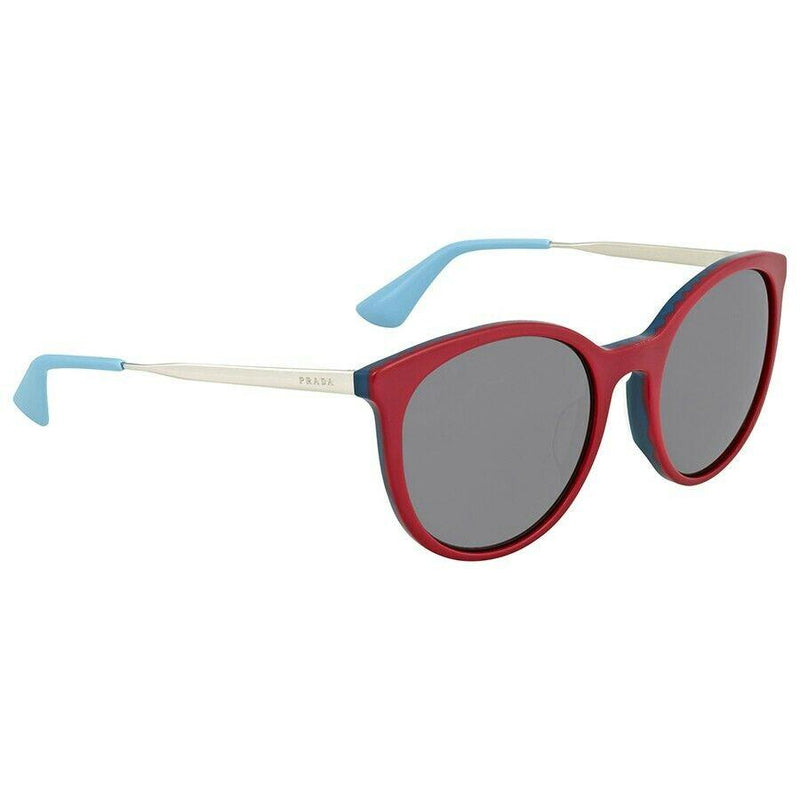Prada Sunglass Round Style PR17SSF VH43C2 55mm - Cinema Women Sunglass Bordeaux Blue Frame