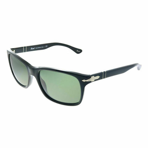 New Persol PO 3048S 95/31 Black Plastic Rectangle Sunglasses Crytal Green Lens
