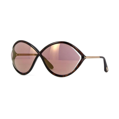 Tom Ford sunglass oversize style dark havana color - Purple mirrored lens FT0528 52Z 70mm