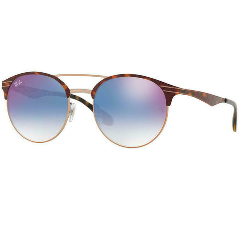 Ray Ban Round Style Sunglasses W/Blue Gradient Mirrored Red Lens