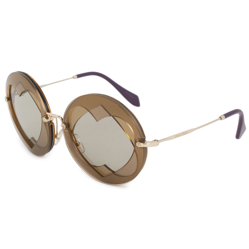 Miu Miu Sunglass - SMU01SS VA25J2 62MM Round Style - Gold Light Brown Gradient Lenses