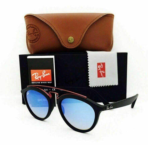 Ray Ban GATSBY II ROUND Sunglasses RB4257 6252B7 Black Frame W/ Blue Lens 53MM