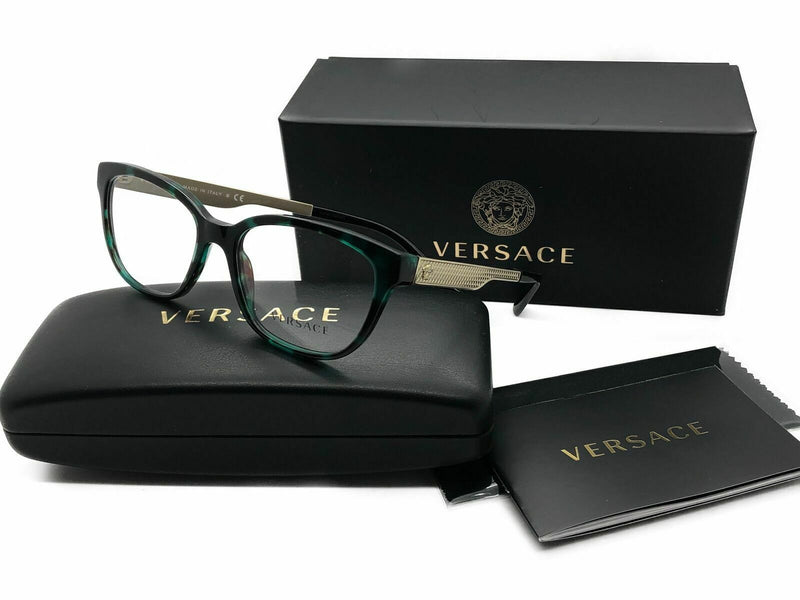 Versace Eyeglasses VE MOD VE3240 5076 Green Havana 54 16 140 demo Lens