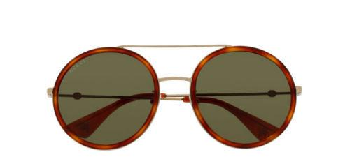 New Gucci GG0061S 002 56-22-140 Havana Gold Metal Round Sunglasses Green Lens