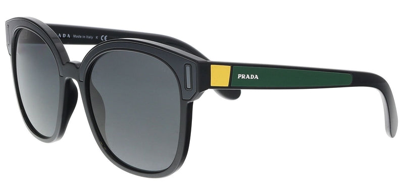 Prada Sunglasses PR05US 07E5S0 53MM Black / Grey/ Yellow Frame Square Sunglasses