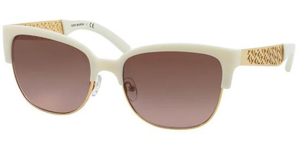 Tory Burch Women Sunglasses Ivory Gold Frame Green Lens TY6032 301514