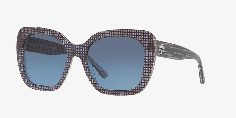 Tory Burch Sunglass TY7127 17398F 56 Square Style - Navy Crystal on Raffia Color Blue Gray Gradient Lens